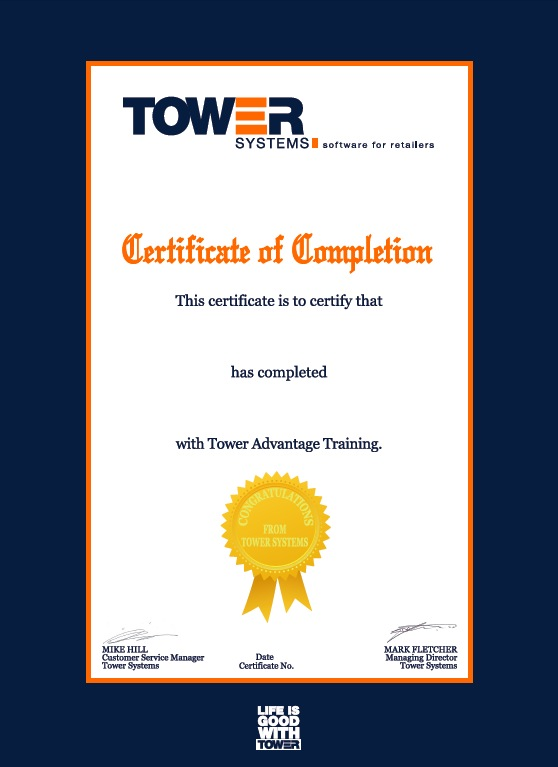 Achievement certificate for retail employees completing