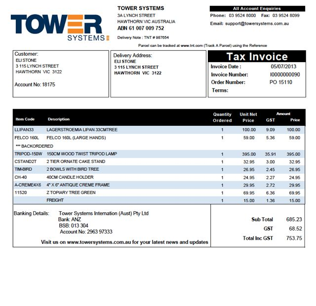 Acknowledgement Receipt Format Professional Invoices A Must For Higherend Retailers  Tower Blog Rent Receipt Form Pdf with Canada Invoice Jewellers  Moving Receipt Template Word